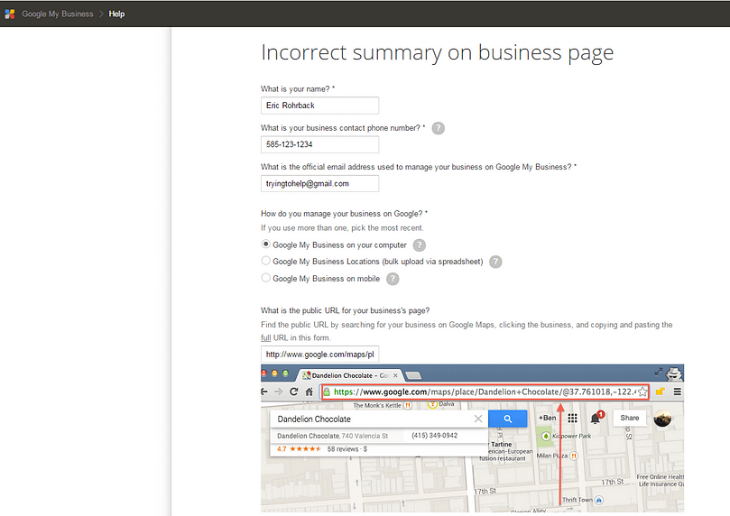 Incorrect Summary - Google My Business Support